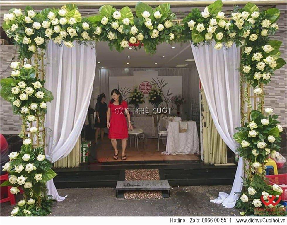 Trang trí đám cưới với hoa sen trang xanh