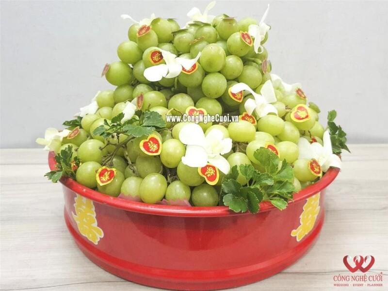 Mâm quả trái cây nho mỹ cưới hỏi